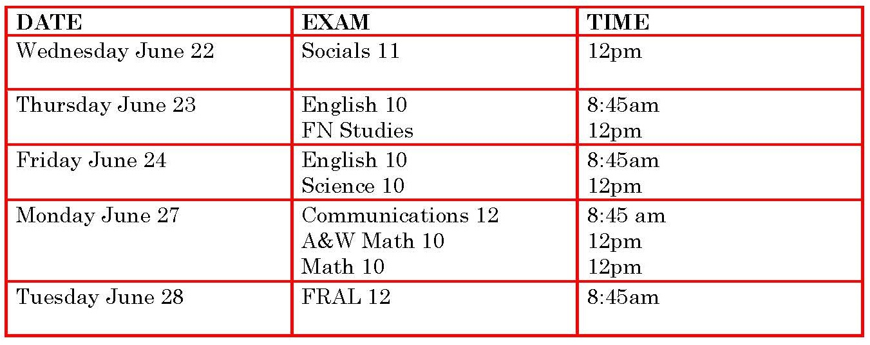 Exam Schedule 2016a